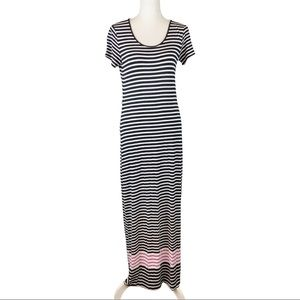 Calvin Klein Short Sleeve Striped Maxi Dress Sz 4